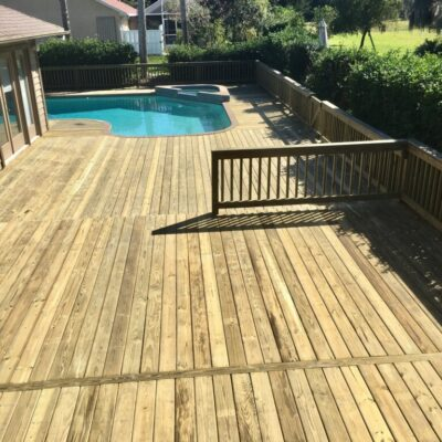 Custom wood pool deck Brevard County FL