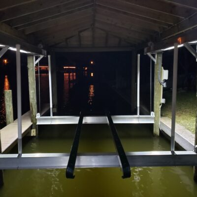Custom Boat Lift, Boat house roof and deck