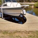 Custom cut out dock for special boat lift with no roof. Side mount boat lift