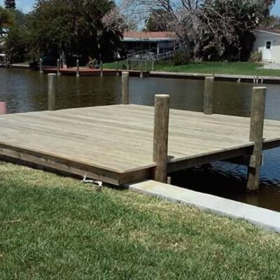 Custom fishing and sunbating dock and deck with new pilings