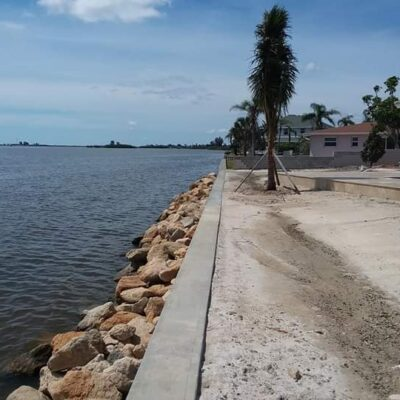 Concrete and rip rap seawall Brevard County FL