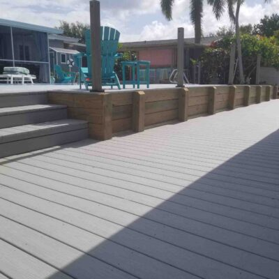 Custom Composite deck with Wood Bulkhead level walls