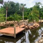 Custom Backyard pond dock, observation deck and bulkhead