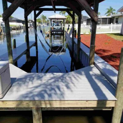 Sling Boat Lift, Boat Slip Composite Dock and Seawall